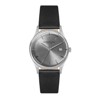 Kenneth Cole New York Women's Black Leather Strap Analog Round Watch