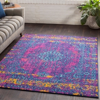 "Myah Blue & Pink Traditional Rug - 5'3"" x 7'6"""