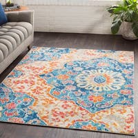 Roxie Blue Transitional Medallion Area Rug - 2' x 3'