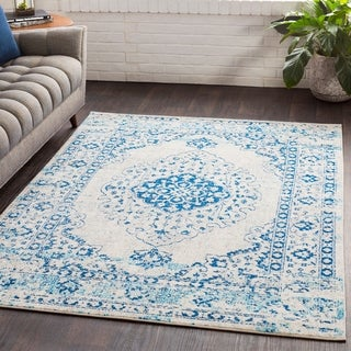 "Myah Blue & White Traditional Rug - 5'3"" x 7'6"""