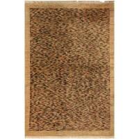 "Gabbeh Bob Tan/Blue Hand-Knotted Wool Rug (3'6 x 4'11) - 3' 6"" x  4'11"""