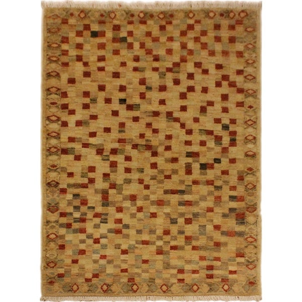 """Gabbeh Raven Tan/Rust Hand-Knotted Wool Rug (3'1 x 4'10) - 3' 1"""" x 4'10"""""""