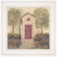 """Folk Art Outhouse III"" by Pam Britton, Ready to Hang Framed Print, White Frame"