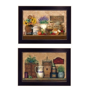 """Antique Kitchen - Treasures"" 2-Pc Vignette by Ed Wargo, Black Frame"