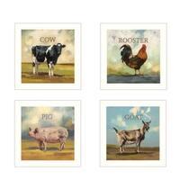 """Farm Animals"" 4-Piece Vignette by Bonnie Mohr, White Frame"