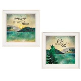 """Lake / Sunshine"" 2-Piece Vignette by Marla Rae, White Frame"