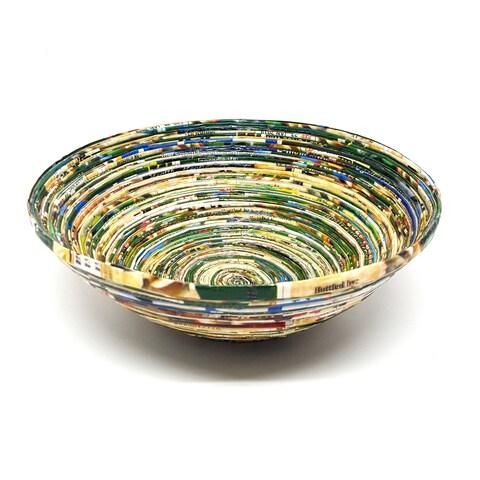 Handmade Green Paper Basket-Large (Uganda)