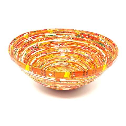 Handmade Orange Paper Basket-Small (Uganda)
