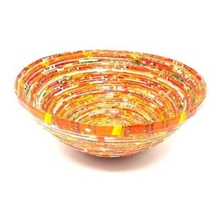 Handmade Orange Paper Basket-Small (Uganda)