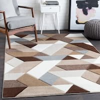 "Tito Brown Mod Mini Triangles Area Rug (7'10"" x 10'3"") - 7'10 x 10'3"