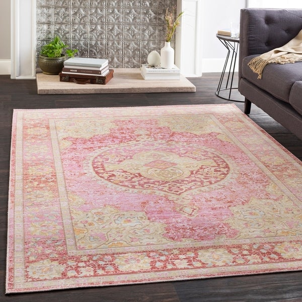"Amara Pink Distressed Medallion Area Rug (7'10"" x 10'6"") - 7'10"" x 10'6"""