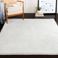 Raegan Ashe White Solid Shag Area Rug (7'10 x 10'3)