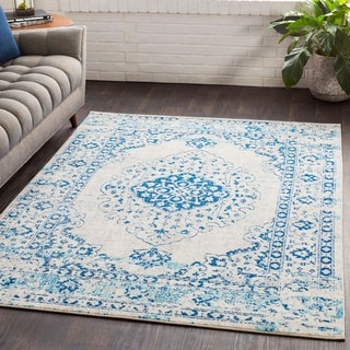 "Myah Blue & White Traditional Rug (7'10"" x 10'3"") - 7'10"" x 10'3"""