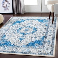Lena Blue/White Traditional Area Rug (7'10 x 10'3)