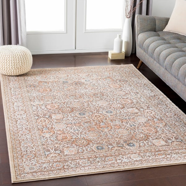 """Brown Elegant Traditional Area Rug (7'10"""" x 10'3"""") - 7'10"""" x 10'3"""""""