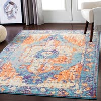 "Distressed Bright Traditional Area Rug (7'10"" x 10'3"")"