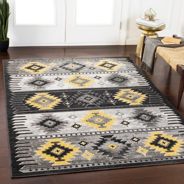 Shop Wyatt Black Amp Yellow Southwestern Area Rug 2 X 3
