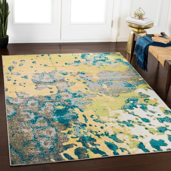 Rhea Yellow Abstract Area Rug - 2' x 3'