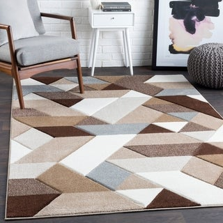 "Tito Brown Mod Mini Triangles Area Rug - 2'7"" x 7'6"" Runner"