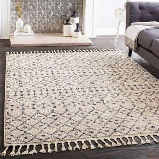 "Laci Cream Moroccan Patterned Tassel Area Rug - 2'7"" x 7'3"" Runner"