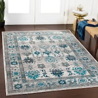 "Swinton Teal & Gray Vintage Traditional Area Rug - 5'3"" x 7'6"""