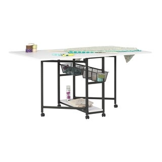 Studio Designs Sew Ready Mobile Fabric Cutting Table with Storage - White