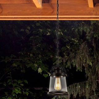 Charlie 1-Light Outdoor Pendant, Bronze, Oil Rubbed Finish, Clear Seeded Glass Shade, Vintage Edison LED Bulb Included