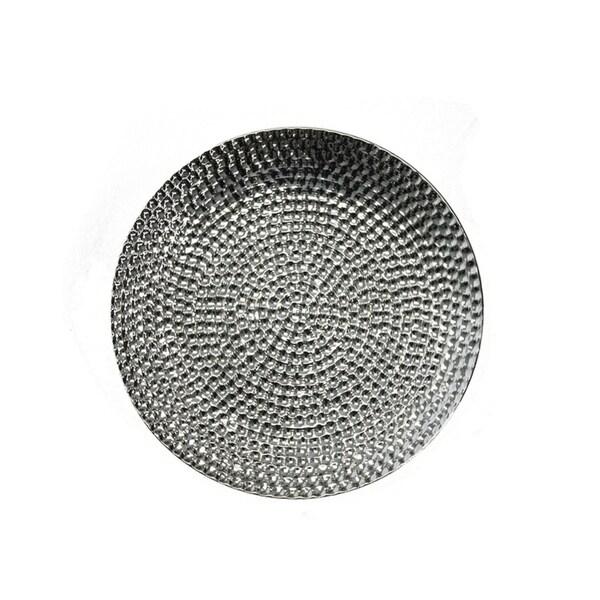 Sagebrook Home 10842 Decorative Ceramic Hammered Plate, Silver Ceramic, 12.5 x 12.5 x 1 Inches