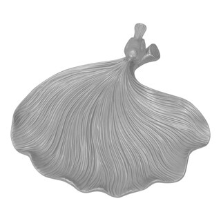 Sagebrook Home 12595-01 Decorative Resin Leaf Plate, Silver Polyresin, 12.5 x 12.5 x 2.75 Inches