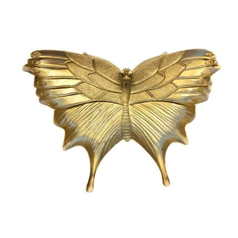 Sagebrook Home 12596-02 Decorative Resin Butterfly Plate, Gold Polyresin, 13 x 9 x 1.75 Inches