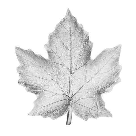 Sagebrook Home 12599-01 Decorative Resin Maple Leaf Plate, Silver Polyresin, 10.5 x 9.75 x 1.25 Inches
