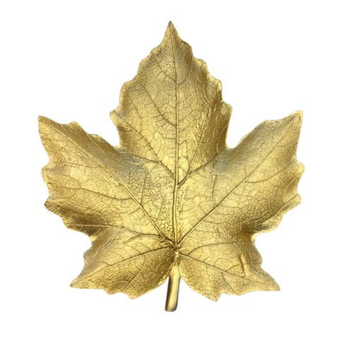 Sagebrook Home 12599-02 Decorative Resin Maple Leaf Plate, Gold Polyresin, 10.5 x 9.75 x 1.25 Inches