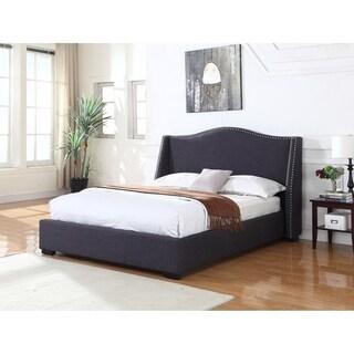 Best Master Furniture 386 Charcoal Linen Upholstered Wood Panel Bed