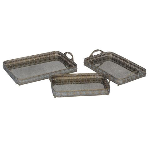 Sagebrook Home 11561 Metal Trays Metal, 14.25 x 22 x 2.5 Inches (Set of 3)