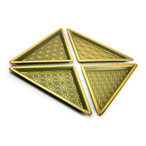 Sagebrook Home 12142-02 S/4 Ceramic Triangle Trays, Green/Gold Ceramic, 11 x 6 x 0.5 Inches