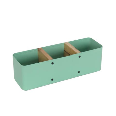 Sagebrook Home 12238-08 Metal & Wood Divided Tray, Green Metal, 9.75 x 3.25 x 1 Inches
