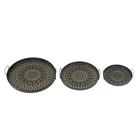 Sagebrook Home 12265 Metal Trays, Brown Metal, 20 x 20 x 3 Inches (Set of 3)