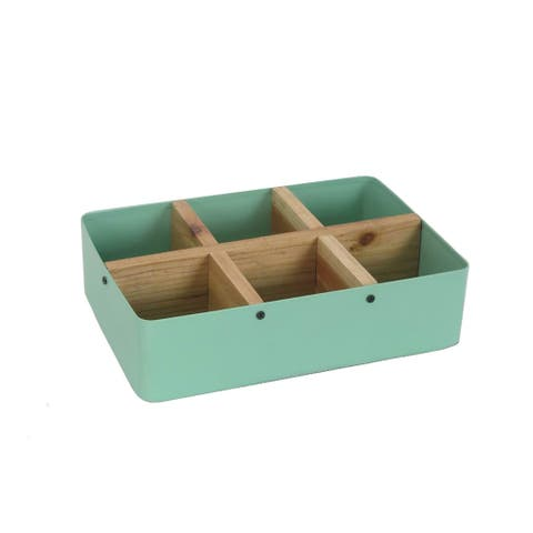 Sagebrook Home 12238-10 Metal & Wood Divided Tray, Green Metal, 9.75 x 7 x 2.5 Inches