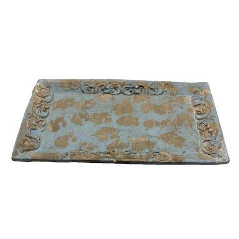 Sagebrook Home AS10116-01 Embossed Edge Tray, Blue Cement, 18 x 11 x 1.5 Inches