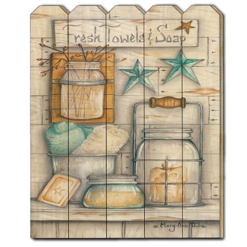 """""""Fresh Towels & Soap"""" by Mary Ann June, Printed Wall Art on a Wood Picket Fence"""
