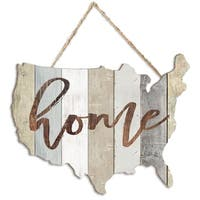"""HOME"" by Marla Rae, Printed Wall Art on a USA-Shaped Wood"