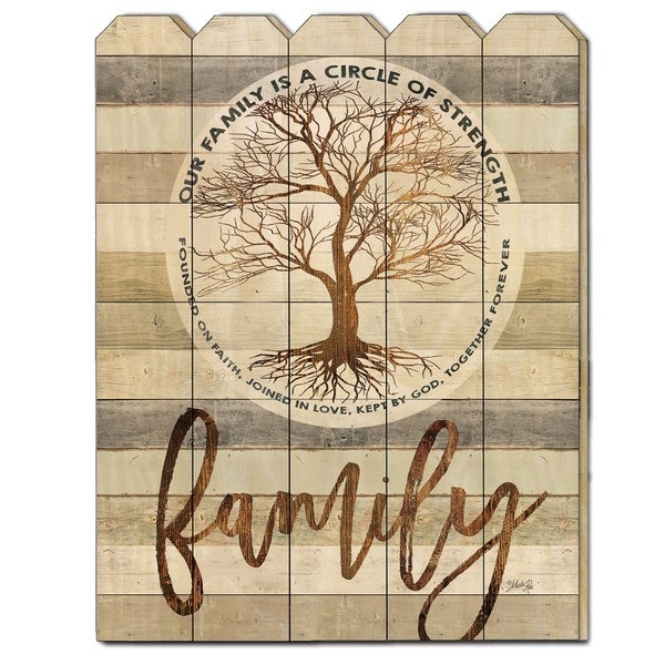 """Circle of Strength"" by Marla Rae, Printed Wall Art on a Wood Picket Fence"