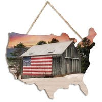 """Orchard and Barn"" by Lori Deiter, Printed Wall Art on a USA-Shaped Wood"