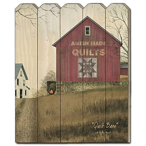 """""""Quilt Barn"""" by Billy Jacobs, Printed Wall Art on a Wood Picket Fence"""