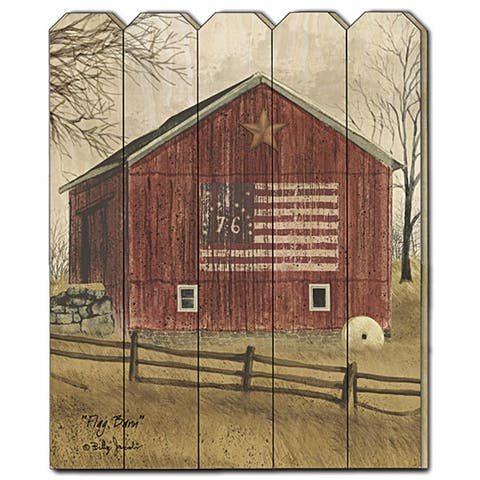 """""""Flag Barn"""" by Billy Jacobs, Printed Wall Art on a Wood Picket Fence"""