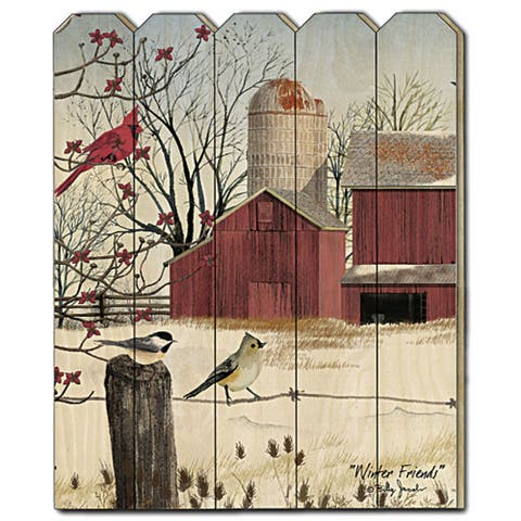 """""""Winter Friends"""" by Billy Jacobs, Printed Wall Art on a Wood Picket Fence"""