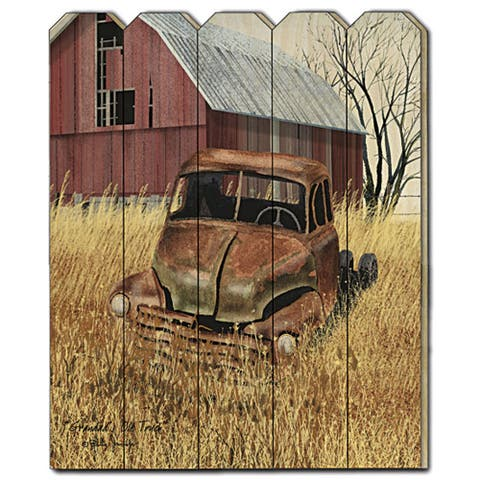 """Granddads Old Truck"" by Billy Jacobs, Printed Wall Art on a Wood Picket Fence"