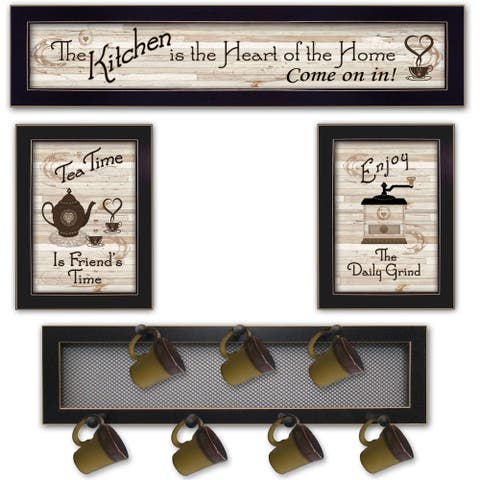 """Kitchen Collection IV"" 4-Piece Vignette with 7-Peg Mug Rack by Millwork Engineering, Black Frame"