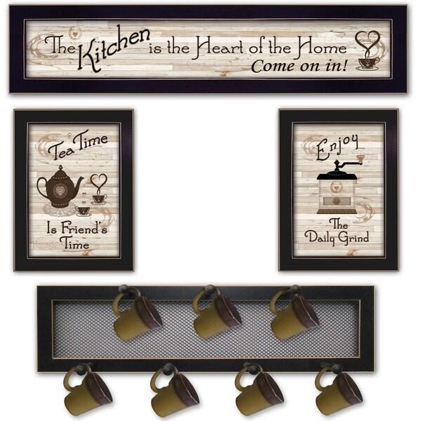 """Kitchen Collection IV"" 4-Piece Vignette with 7-Peg Mug Rack by Millwork Engineering, Black Frame"