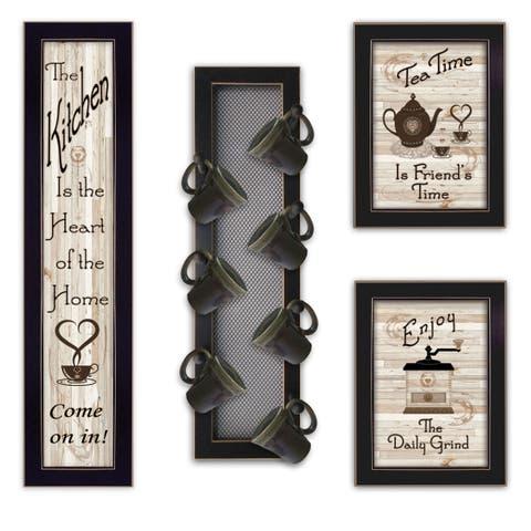 """""""Kitchen Collection V"""" 4-Piece Vignette with 7-Peg Mug Rack by Millwork Engineering, Black Frame"""